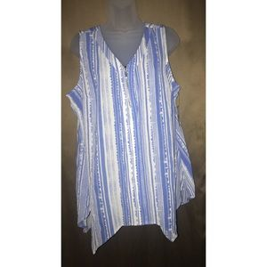 NY COLLECTIONS TOP WITH STRIPES 1X NWT